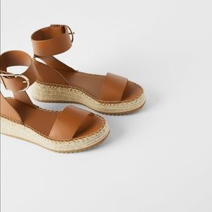 Zara Mini Leather Wedges with Ankle Strap